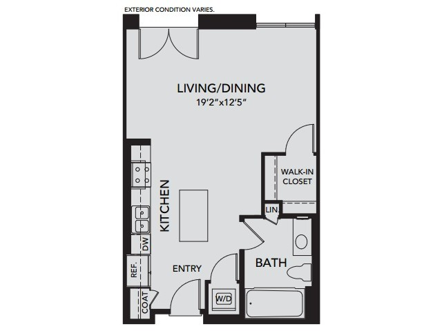 Plan S1 | Studio1 bath | from 607 square feet