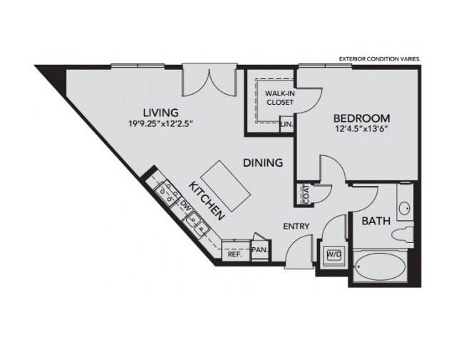 Plan A3 | 1 bed 1 bath | from 754 square feet