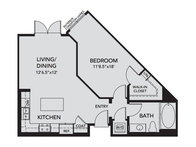 Plan A5 | 1 bed 1 bath | from 738 square feet