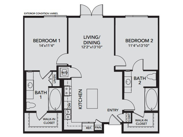 Plan B2 | 2 bed 2 bath | from 1104 square feet