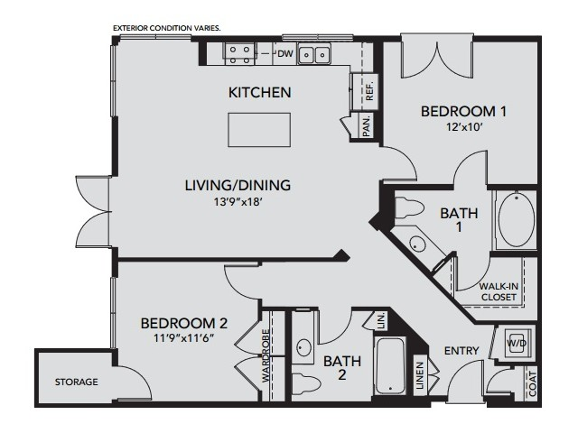 Plan B3 | 2 bed 2 bath | from 1114 square feet