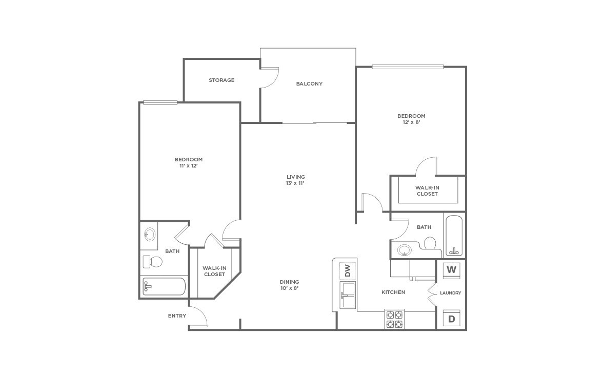 B1 | 2 bed 2 bath | from 1100 square feet