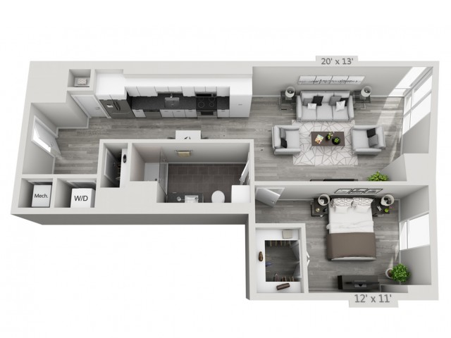 A4-Alt | 1 bed 1 bath | from 797 square feet