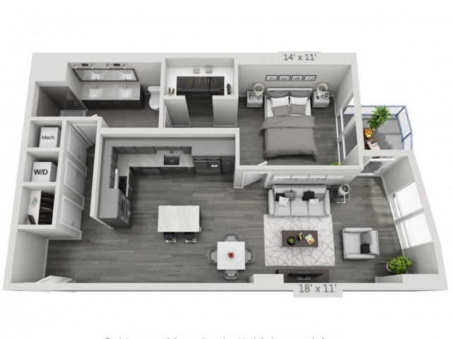 A7-Alt | 1 bed 1 bath | from 944 square feet