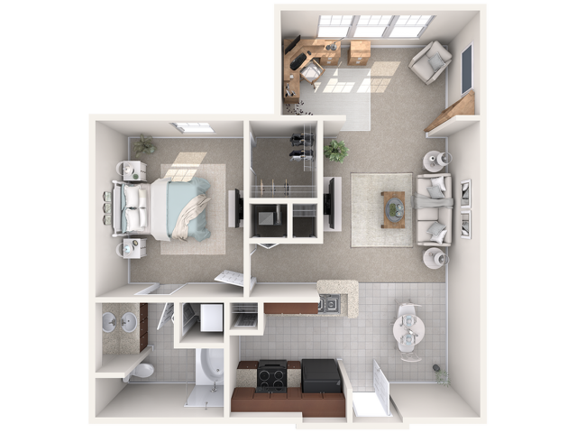 A1 Study | 1 bed 1 bath | from 755 square feet