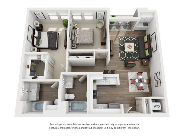 D1   2 bed 2 bath   from 971 square feet