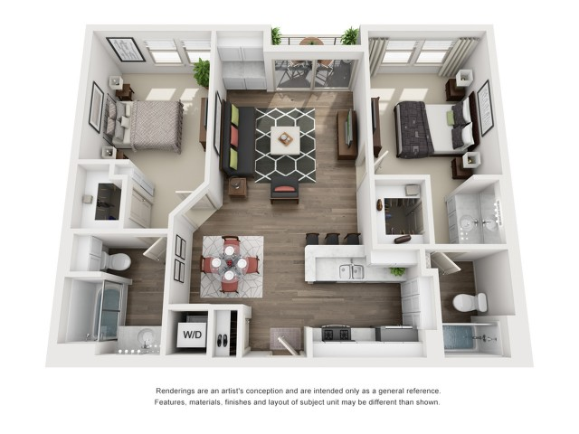 C1   2 bed 2 bath   from 1009 square feet