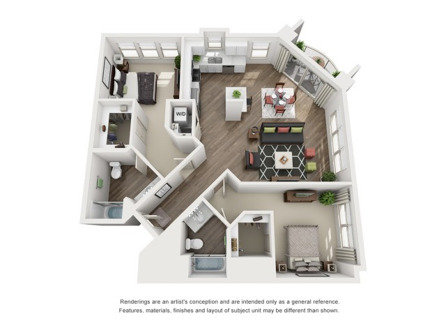 F   2 bed 2 bath   from 1194 square feet