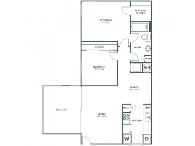 Maple | 2 bed 1 bath | from 827 square feet