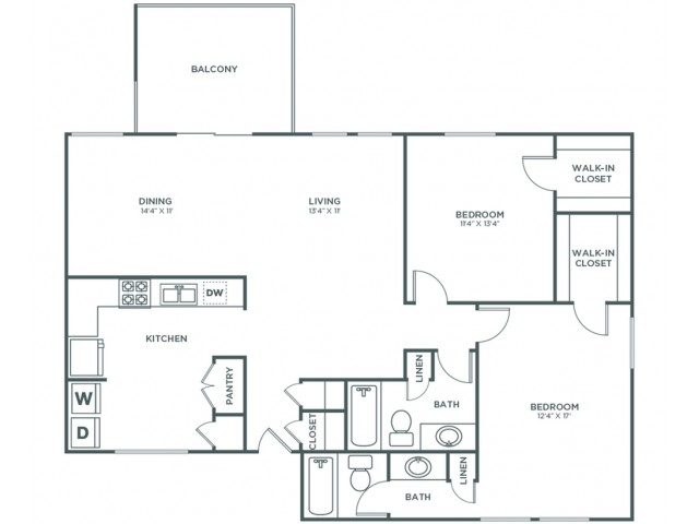 Oak | 2 bed 2 bath | from 1253 square feet