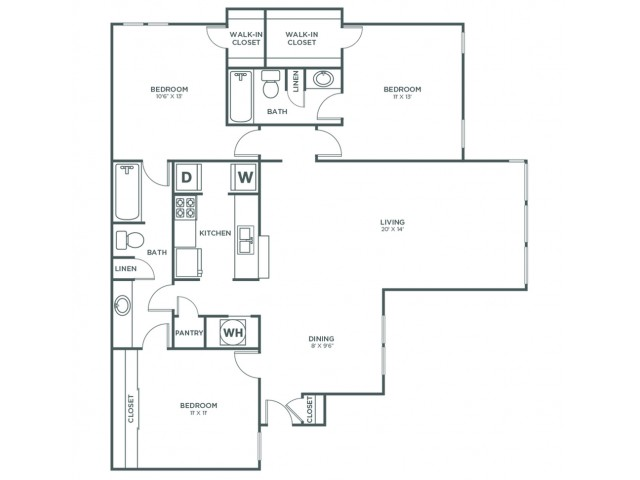 Chestnut | 3 bed 2 bath | from 1254 square feet