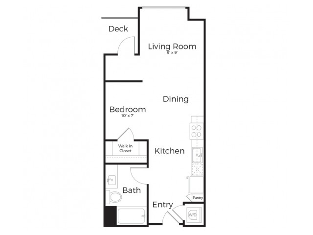 1E | 1 bed 1 bath | from 631 square feet