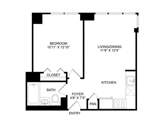 A6 | 1 bed 1 bath | from 580 square feet
