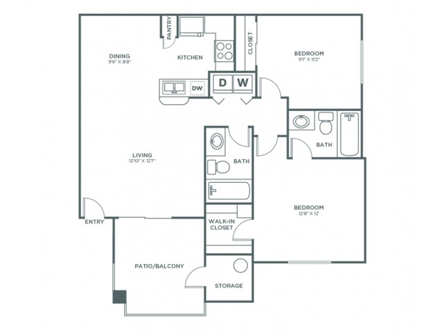 2 Bedroom 2 Bath A | 2 bed 2 bath | from 900 square feet