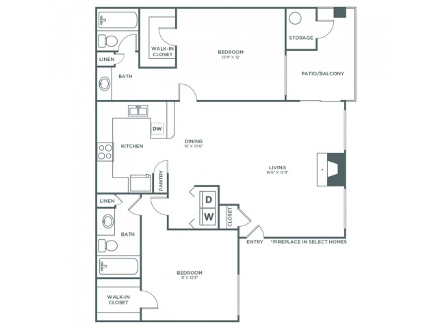 2 Bedroom 2 Bath B | 2 bed 2 bath | from 1028 square feet