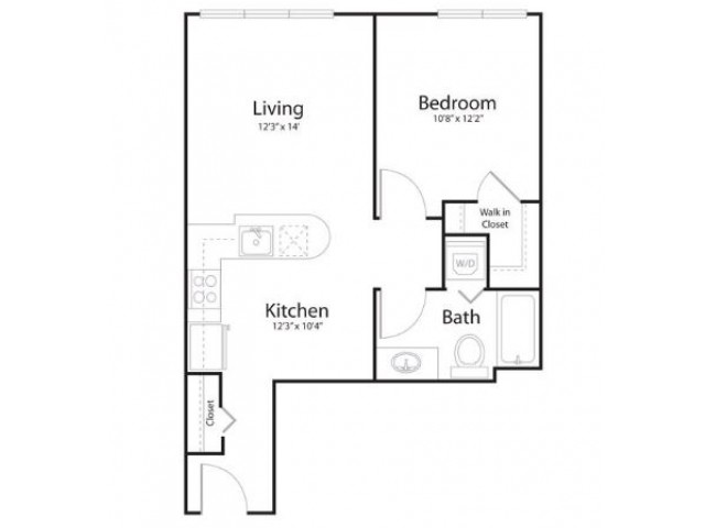 1f1 | 2 bed 1 bath | from 634 square feet
