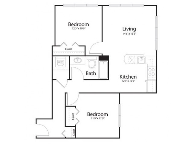 2a2 | 1 bed 1 bath | from 894 square feet