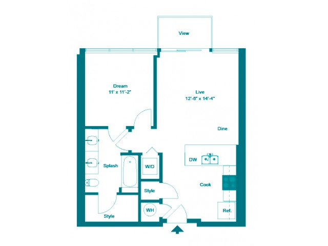 Aquamarine | 1 bed 1 bath | from 677 square feet