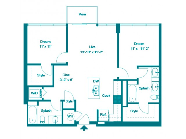 Indigo | 2 bed 2 bath | from 1034 square feet