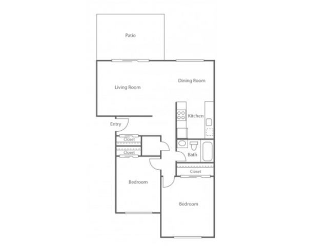 2BD/1BA Plan A | 2 bed 1 bath | from 818 square feet