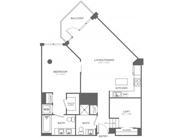 D2   1 bed 2 bath   from 1120 square feet