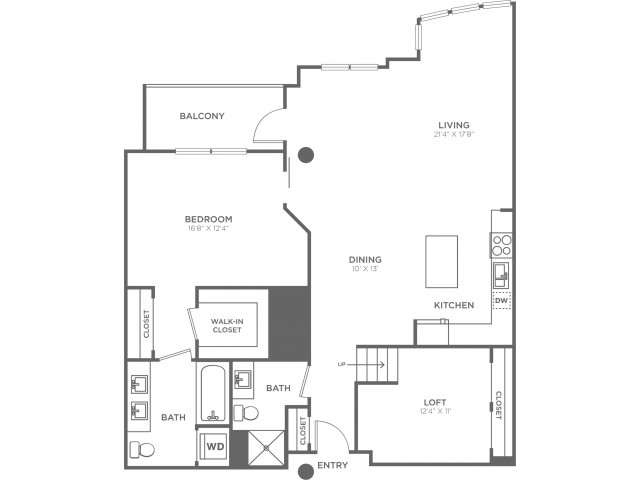 E1   1 bed 2 bath   from 1320 square feet