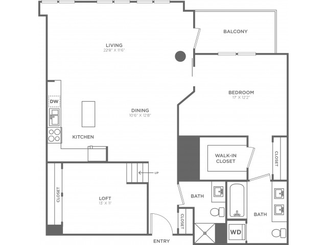 E2 | 1 bed 2 bath | from 1290 square feet
