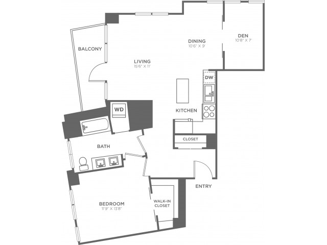F   1 bed 1 bath   from 930 square feet