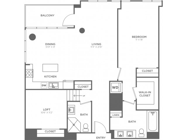 H   1 bed 2 bath   from 1270 square feet