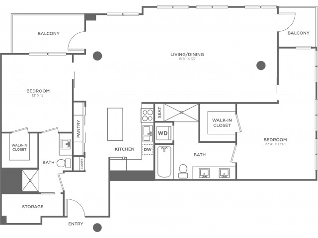 J | 2 bed 2 bath | from 1610 square feet