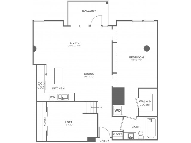 M | 1 bed 1 bath | from 1010 square feet