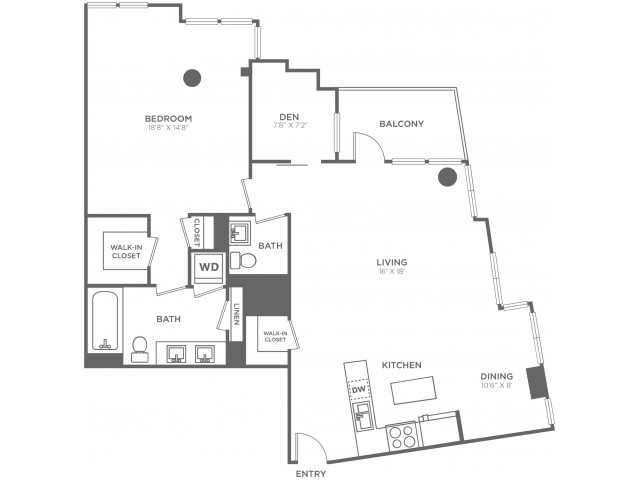 K | 1 bed 2 bath | from 1200 square feet