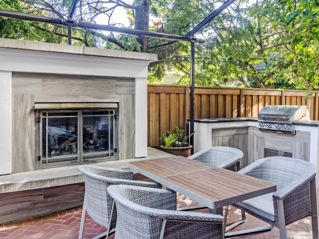 BBQ Area with Outdoor Fireplace