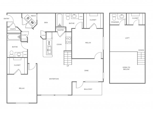 B1LR | 2 bed 2.5 bath | from 1356 square feet