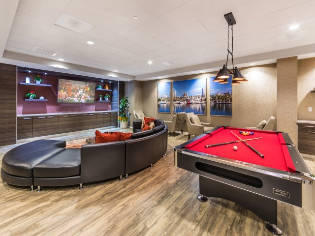 Image of Rec Room with Billiards, Ping-Pong Table, Lounge, and Massive Flat-Screen TV for Avana on Pine