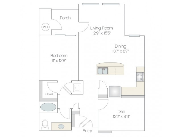 A2 | 1 bed 1 bath | from 952 square feet