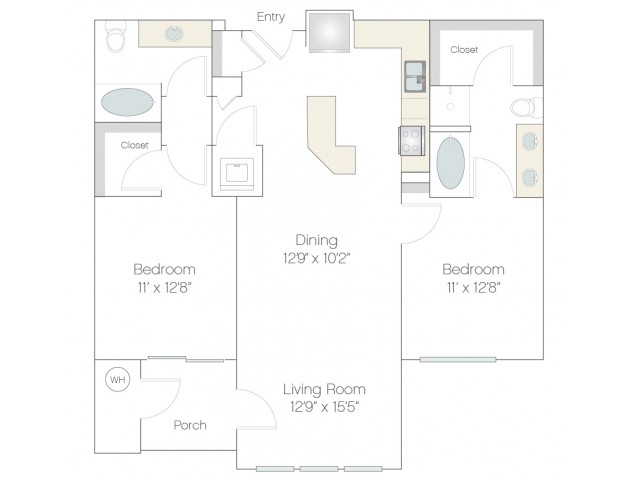 B1 | 2 bed 2 bath | from 1096 square feet