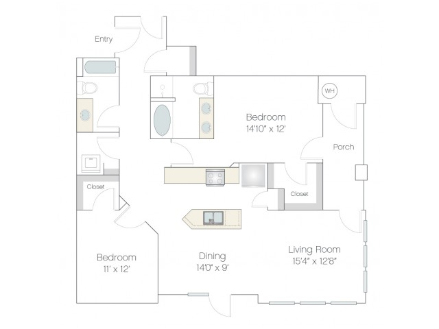 B2 | 2 bed 2 bath | from 1258 square feet