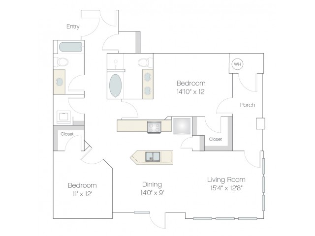 B2.GR | 2 bed 2 bath | from 1258 square feet