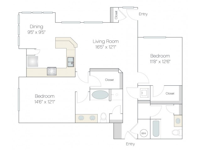 BT2.GR | 2 bed 2 bath | from 1256 square feet