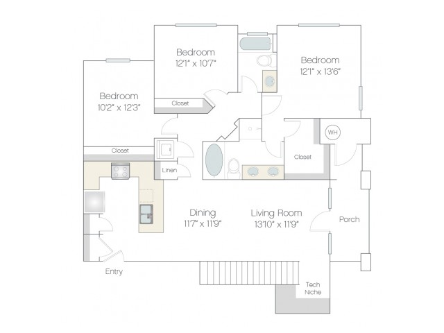 C1 | 3 bed 2 bath | from 1344 square feet
