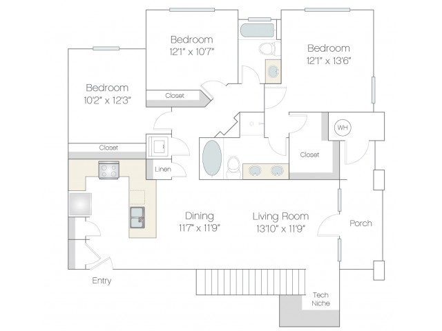 C1.GR | 3 bed 2 bath | from 1344 square feet