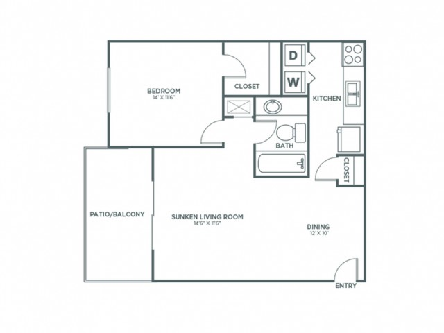 1X1 | 1 bed 1 bath | from 826 square feet