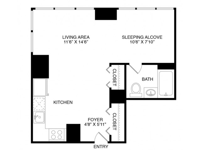 S6 | Studio1 bath | from 446 square feet