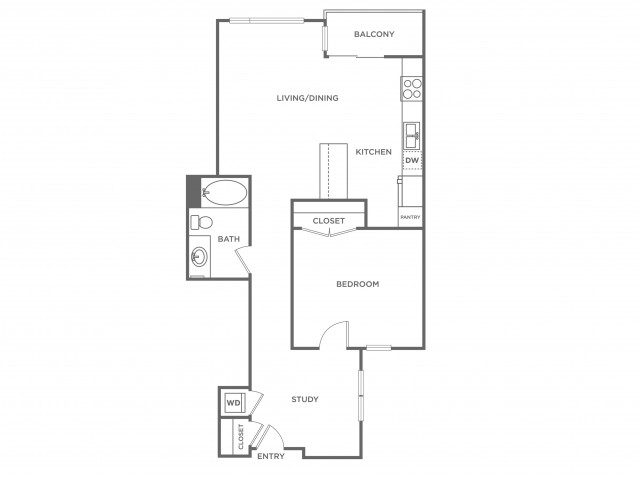 Plan A | 1 bed 1 bath | from 915 square feet