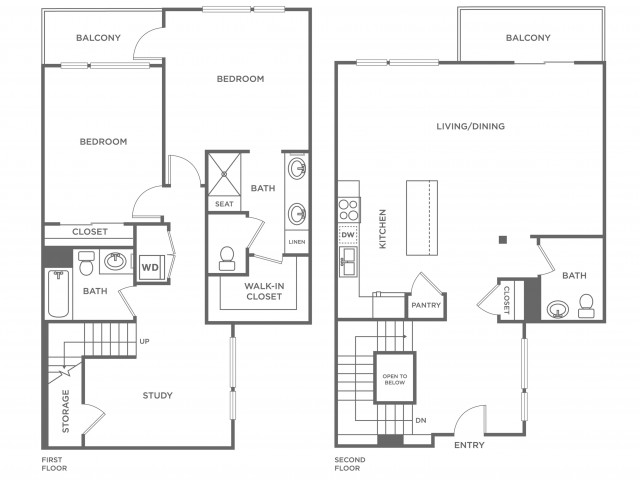 Plan F | 2 bed 3 bath | from 1627 square feet