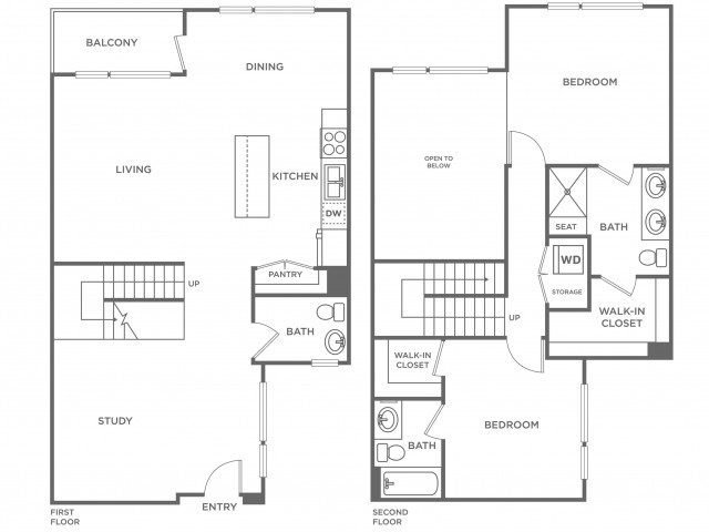 Plan G | 2 bed 3 bath | from 1455 square feet
