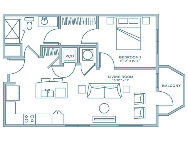 1A.2 | 1 bed 1 bath | from 708 square feet