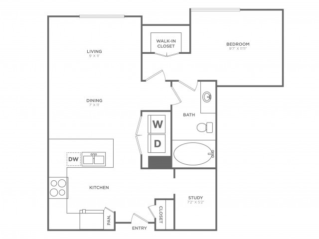 Polished | 1 bed 1 bath | from 785 square feet