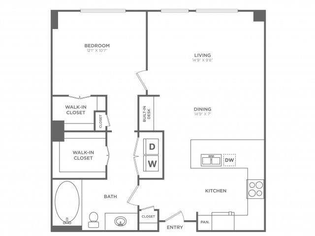 Classy | 1 bed 1 bath | from 822 square feet